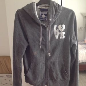 VS PINK Grey Blinged out Hoodie